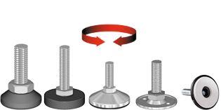 Adjusters, rotatable threaded steel bolt