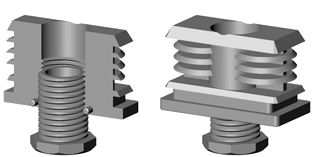 Insert-vérins pour tube rectangulaire avec 1 angle rayonné R 6 mm